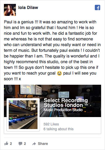 Facebook Review for Select Recording Studios London