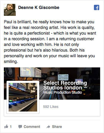 Facebook Review for Select Recording Studios