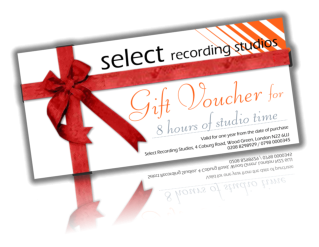 Recording studio gift voucher